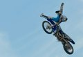 Acrobatic stunt russia moscow july motofristayler anton smirnov at the sports festival moscow city games in the program moto Stock Photos