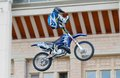 Acrobatic stunt russia moscow july motofristayler anton smirnov at the sports festival moscow city games in the program moto Stock Photo