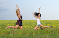 Acrobatic women leaping in unison Royalty Free Stock Image