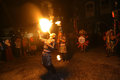 Acrobatics fire artists perform when a cultural event in the city of solo central java indonesia Royalty Free Stock Images