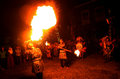 Acrobatics fire artists perform when a cultural event in the city of solo central java indonesia Royalty Free Stock Photo