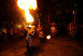 Acrobatics fire artists perform when a cultural event in the city of solo central java indonesia Stock Photos
