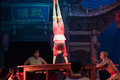 Acrobatics on the table acrobatic showbaixi dream night baixi tells story of beginning of last century a class troupe and old Stock Photos