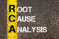 Acronym rca root cause analysis business conceptual image with yellow paint line on the road over asphalt stone background Royalty Free Stock Photo