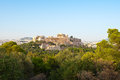 Acropolis of Athens from Filopappos Hill in the evening. Greece. Royalty Free Stock Photo