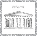 Acropolis in athens greece sketch of historic building and house visit card ornamental traditional greek frame Stock Image