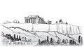 Acropolis hill in athens european travel destination hand drawn landmark ancient greece illustration collection scrapbooking hand Stock Images