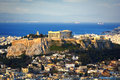 Acropolis hill and Plaka Royalty Free Stock Photo