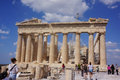 Acropolis parthenon temple athens greece july tourists in famous old city on july in athens greece construction began in bc in the Stock Images