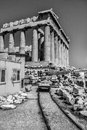 Acropolis under construction of athens is Royalty Free Stock Photography