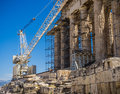 Acropolis under construction a photo of the current state of the in anthens greece which is undergoing extensive renovations Royalty Free Stock Photo