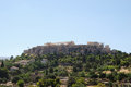 Acropolis view of from temple of hephaestus athens greece Royalty Free Stock Photos