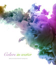 Acrylic colors and ink in water abstract background Stock Photos