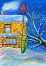 Acrylic drawing about red tulip surrounded corolful snow on the rural background with brick house.