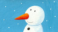 Acrylic illustration of cute snowman Royalty Free Stock Photo