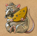 Acrylic illustration fat rat holding big slice cheese Stock Photos