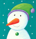 Acrylic illustration of funny snowman Stock Photography