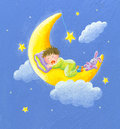 Acrylic illustration of lullaby baby sleeps on the moon Royalty Free Stock Photography