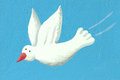 Acrylic illustration white dove flying Stock Photography