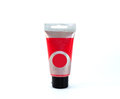 Acrylic paint tube red colour can be easily changed to any colour using hue saturation in photo package Royalty Free Stock Image