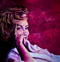 Acrylic painting of 1950's lady in bath robe inspired by images of Marilyn Monroe