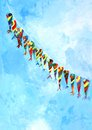 Acrylic painting series kites tied one thread Stock Photo