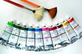 Acrylic painting tools Stock Photos