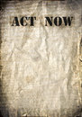 Act now letters on a vintage poster background Royalty Free Stock Photos