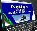 Action And Adventure On Laptop Shows Expeditions Royalty Free Stock Photo