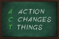Action changes things with white chalk on blackboard Stock Images