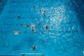 Action de piscine d eau polo Photo stock