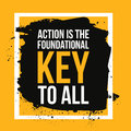 Action is the foundational key to all. Motivation poster, quote background,print illustration for wall. Royalty Free Stock Photo