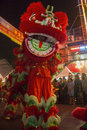 Action movement chinese dragon dance at the chinese new year celebrations in chinatown in bangkok in thailand Stock Image
