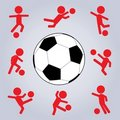 Action Soccer Icon Set Stock Photo