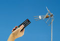 Activating a Digital antenna Tv Royalty Free Stock Photo