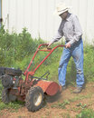 Active 89 Year Old plowing Stock Photo