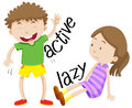 Active boy and lazy girl Royalty Free Stock Photo