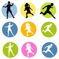 Active Children Silhouettes Royalty Free Stock Images