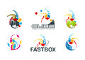 Active cube logo, speed box symbol, fast destination concept design