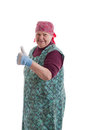 Active elderly woman holding thumbs up Royalty Free Stock Photography