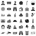 Active games icons set, simple style Royalty Free Stock Photo