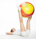 Active girl with gymnastic ball Stock Photo