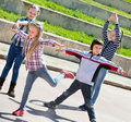 Active kids moving during acting game Royalty Free Stock Photo
