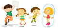 Active kids playing illustration of the on a white background Royalty Free Stock Image