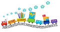 Active learning for preschool kids colorful train with happy smiling kid on and pencils playing blocks abc book numbers Stock Image