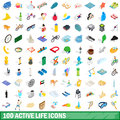 100 active life icons set, isometric 3d style