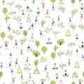Active lifestyle, sports entertainment outdoors. Seamless pattern, vector background illustration.