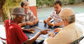 Active Retirement Happy Old Friends Playing Domino Game Royalty Free Stock Photo