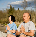Active senior asian couple Royalty Free Stock Image