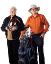 Active senior couple a women biker posing with ther golfing husband on a white background Stock Photos